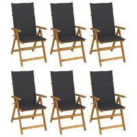vidaXL Сгъваеми градински столове с възглавници, 6 бр, акация масив