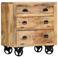 vidaXL Страничен шкаф на колелца, 70x40x75 см, манго масив