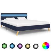 vidaXL Рамка за легло с LED, синя, плат, 140x200 см