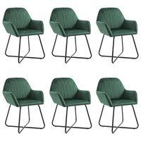 vidaXL Трапезни столове, 6 бр, зелени, кадифе