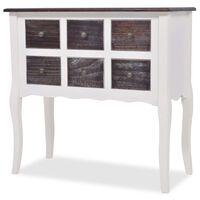 vidaXL Конзолен шкаф, 6 чекмеджета, кафяво и бяло дърво