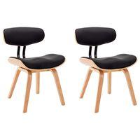 vidaXL Трапезни столове, 2 бр, черни, извито дърво и изкуствена кожа