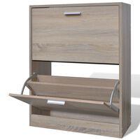 Дървен шкаф за обувки с 2 отделения, вид на дъб