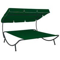 vidaXL Лаундж легло на открито с навес, зелено