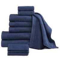 vidaXL Комплект от 12 хавлиени кърпи, памук, 450 г/м2, тъмносин