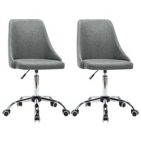 vidaXL Офис столове с колелца, 2 бр, текстил, светлосиви