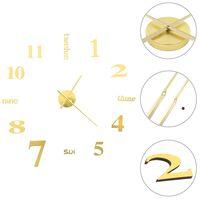 vidaXL 3D стенен часовник, модерен дизайн, 100 см, XXL, златист