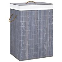 vidaXL Бамбуков кош за пране, сив, 72 л