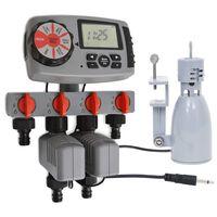 vidaXL Автоматичен таймер за поливане с 4 изхода и сензор за дъжд 3 V