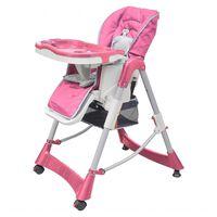 vidaXL vidaXL Бебешки стол за хранене, розов, регулируема височина