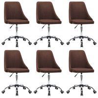 vidaXL Трапезни столове, 6 бр, кафяви, текстил