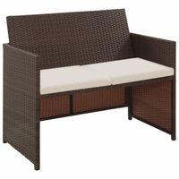 vidaXL 2-местен градински диван с възглавници, кафяв, полиратан