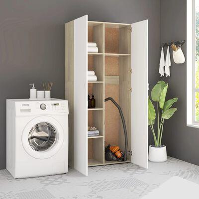 vidaXL Шкаф за съхранение, бяло и дъб сонома, 80x35,5x180 см, ПДЧ