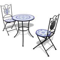 vidaXL Бистро комплект, 3 части, керамични плочки в синьо и бяло