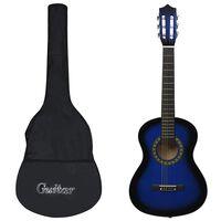 """vidaXL Комплект класическа китара за начинаещи 8 части син 1/2 34"""""""