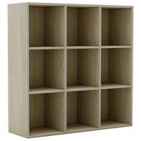 vidaXL Шкаф библиотека, дъб сонома, 98x30x98 см, ПДЧ