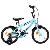 vidaXL Детски велосипед, 14 цола, черно и синьо