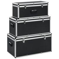 vidaXL Куфари за съхранение, 3 бр, черни, алуминий