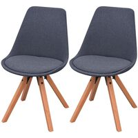 vidaXL Трапезни столове, 2 бр, тъмносиви, текстил
