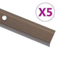 vidaXL Ръбове за стъпала, Г-образни, 5 бр, алуминий, 134 см, кафяви