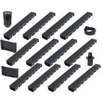 vidaXL Дренажни канали, 12 бр, пластмаса, 12 м