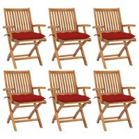 vidaXL Сгъваеми градински столове с възглавници, 6 бр, тик масив