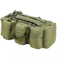 vidaXL 3-в-1 Сак, войнишки стил, 120 л, маслинено зелен
