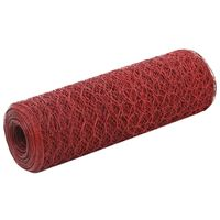 vidaXL Кокошкарска мрежа, стомана с PVC покритие, 25х0,5 м, червена