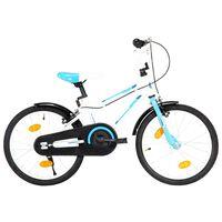 vidaXL Детски велосипед, 18 цола, синьо и бяло
