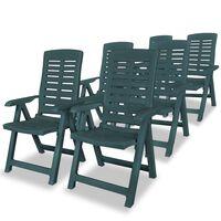 vidaXL Накланящи се градински столове, 6 бр, пластмаса, зелени