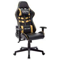 vidaXL Геймърски стол, черно и златисто, изкуствена кожа