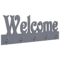 vidaXL Стенна закачалка за палта WELCOME, сива, 74x29,5 см