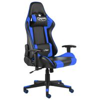 vidaXL Въртящ геймърски стол, син, PVC