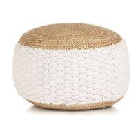 vidaXL Тъкан/плетен пуф, юта и памук, 50x35 см, бял