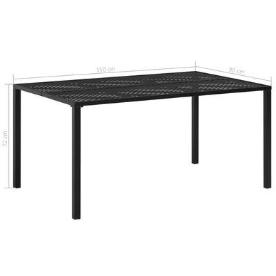 vidaXL Градинска маса, черна, 150x90x72 см, стомана