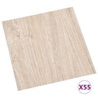 vidaXL Самозалепващи подови дъски, 55 бр, PVC, 5,11 м², светлокафяви