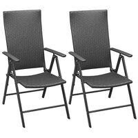 vidaXL Стифиращи градински столове, 2 бр, полиратан, черни