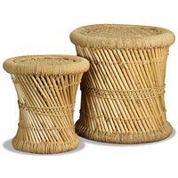 vidaXL Табуретки, 2 бр, бамбук и юта