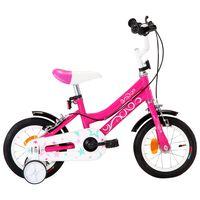 vidaXL Детски велосипед, 12 цола, черно и розово