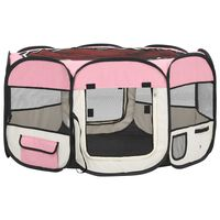 vidaXL Сгъваема кучешка кошара с чанта за носене розова 125x125x61 см