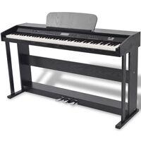 vidaXL Дигитално пиано с 88 клавиша и педали, борд от черен меламин
