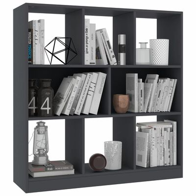 vidaXL Библиотека, сива, 97,5x29,5x100 см, ПДЧ