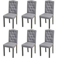 vidaXL Трапезни столове, 6 бр, светлосиви, текстил