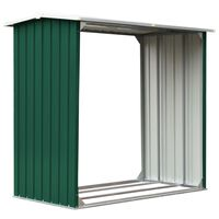 vidaXL Навес за дърва, поцинкована стомана, 172x91x154 см, зелен