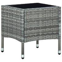 vidaXL Градинска маса, сива, 40x40x45 см, полиратан