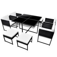 vidaXL Градински комплект с възглавници, 9 части, черен полиратан
