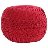 vidaXL Пуф, памучно кадифе, дизайн с набори, 40х30 см, червен