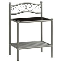 vidaXL Нощно шкафче, сиво и черно, 43x33x65 см, метал и стъкло