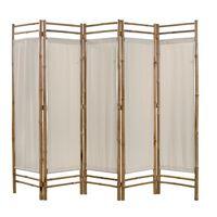 vidaXL Сгъваем 5-панелен параван за стая, бамбук и текстил, 200 cм