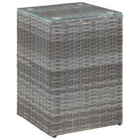 vidaXL Странична маса със стъклен плот, сива, 35x35x52 см, полиратан
